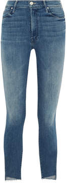 Mother The Stunner Cropped Frayed Mid-rise Skinny Jeans - Mid denim