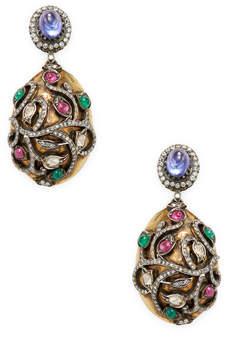 Amrapali Women's Ruby, Emerald, Tanzanite and Diamond Earrings