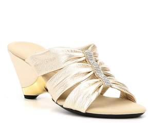 Onex Lilibeth Rhinestone-Embellished Metallic Leather Slip-On Dress Sandals