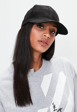 Missguided Black Faux Suede Baseball Cap