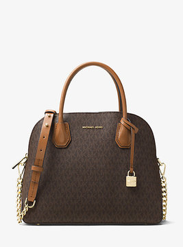 Michael Kors Mercer Large Logo Dome Satchel - BROWN - STYLE