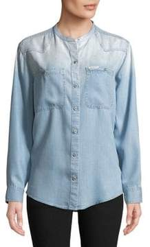 Calvin Klein Jeans Mandarin Collar Button-Down Shirt