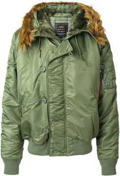 Alpha Industries fur trim bomber jacket