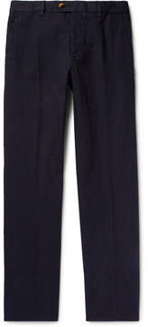 Caruso Slim-Fit Herringbone Cotton And Linen-Blend Trousers
