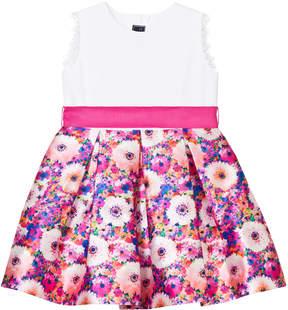 Oscar de la Renta Pink Rainbow Dahlia Mikado Party Dress