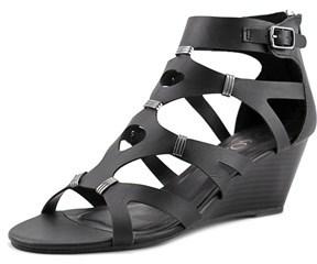 XOXO Sarabeth Open Toe Synthetic Wedge Heel.