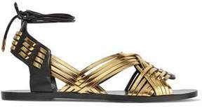Balmain Matti Metallic Woven Leather Sandals