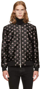 DSQUARED2 Black and Pink Floral Bomber Jacket