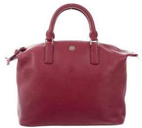Tory Burch Pebbled Leather Satchel - BURGUNDY - STYLE