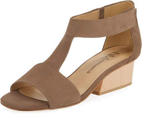 Neiman Marcus Cassie Suede T-Strap Sandal, Gray