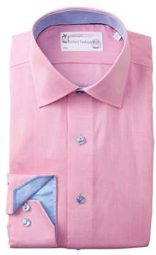 Lorenzo Uomo Textured Solid Trim Fit Dress Shirt