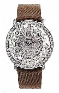 Chopard Happy Diamonds Pave Dial 18kt White Gold Brown Leather Ladies Watch