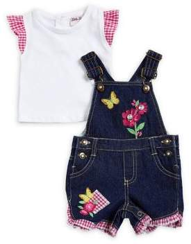 Little Lass Baby Girl's Tee and Denim Shortall Set