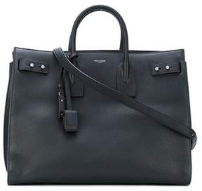 Saint Laurent Men's Black Leather Briefcase.