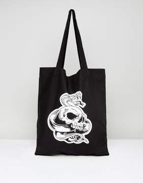Asos Tote Bag In Black With Snake Design