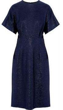 Jil Sander Metallic Pleated Crepe Dress