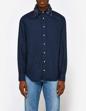 Gitman Brothers Removeable Fur Collar Shirt in Navy