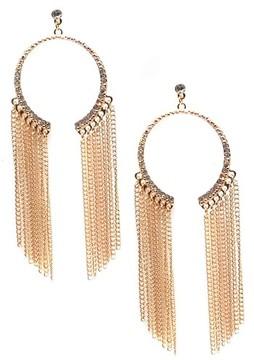 Ettika Women's Chain & Crystal Hoop Earrings