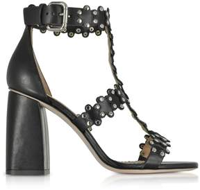 RED Valentino Black Flower Puzzle Leather Heel Sandals