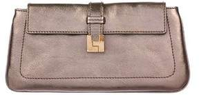 Lambertson Truex Metallic Leather Flap Clutch
