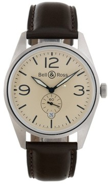 Bell & Ross Bell and Ross BRV123 Stainless Steel Automatic Beige Dial Brown Leather 41mm Mens Watch