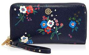 Tory Burch Parker Floral Print Zip Continental Wallet