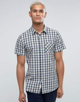 Jack Wills Stableton Regular Fit Short Sleeve Check Shirt In Navy