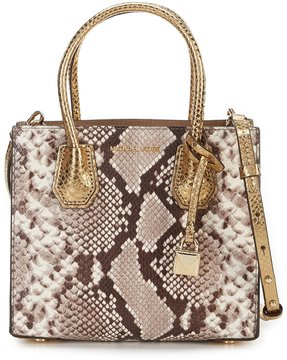 MICHAEL Michael Kors Mercer Snake-Embossed Metallic Cross-Body Messenger Bag - NATURAL - STYLE