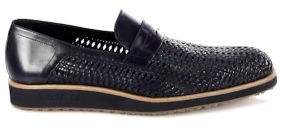 a. testoni Open Woven Leather Dress Loafers