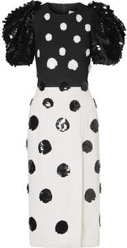 Carolina Herrera Sequin-embellished Crepe Midi Dress - Black