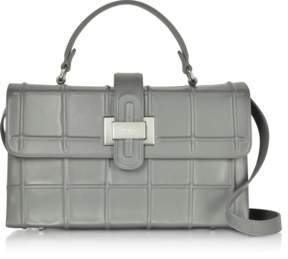 Rodo Fog Gray Leather Top Handle Satchel bag w/Shoulder Strap