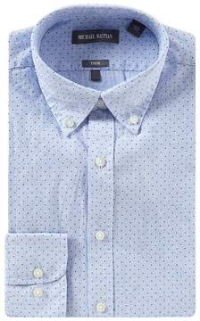 Michael Bastian Trim Fit Button-Down Collar Dotted Dress Shirt