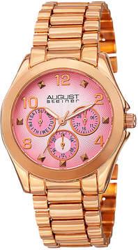 August Steiner Womens Rose Goldtone Strap Watch-As-8150rg