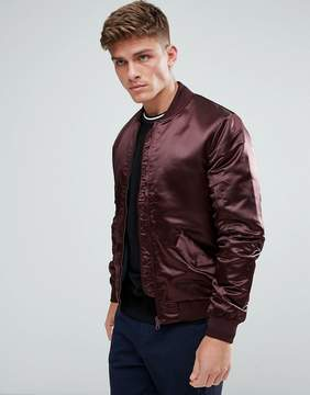 Kiomi Satin Look Bomber Jacket In Burgundy
