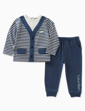 Calvin Klein baby boys striped cardigan pants set