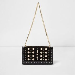 River Island Womens Black pearl studded underarm chain bag