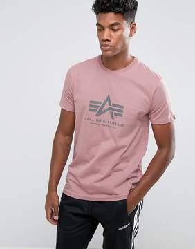 Alpha Industries Logo T-Shirt Regular Fit in Silver Pink