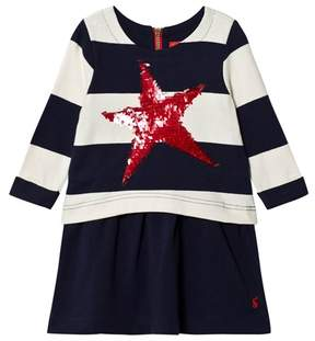 Joules Navy Stripe Jersey Dress with Sequin Star