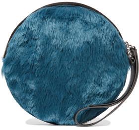 MM6 Maison Margiela Faux Leather-Trimmed Faux Fur Clutch