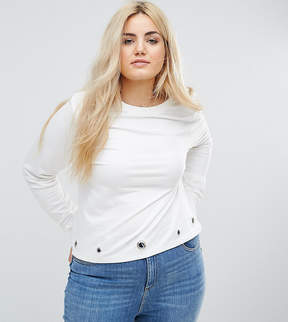 Brave Soul Plus Sweatshirt With Eyelet Detail