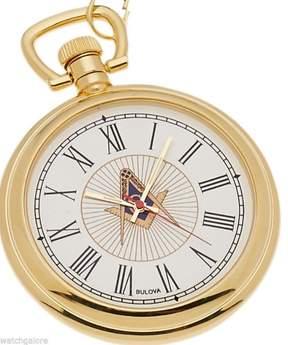 Bulova New Gold Plated Freemason Masonic Pocket Watch and Matching Chain
