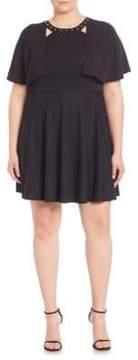 ABS by Allen Schwartz Studded Cape Overlay Dress