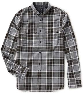 Armani Exchange Plaid Flannel Long-Sleeve Woven Shirt
