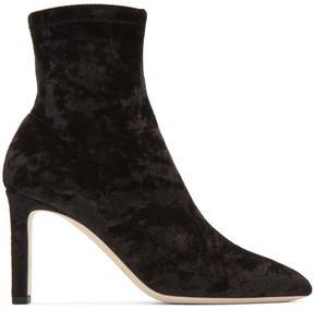 Jimmy Choo Black Velvet Louella Sock Boots
