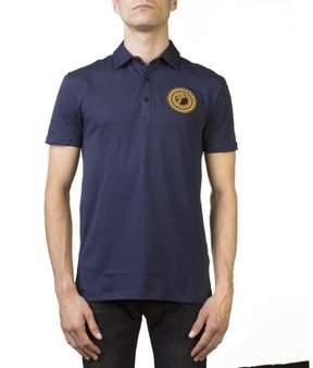 Versace Men's Medusa Logo Regular Fit Pima Polo Shirt Navy