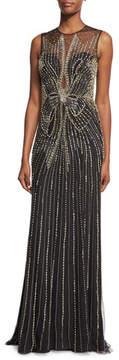 Jenny Packham Beaded Bow Sleeveless Column Gown, Black
