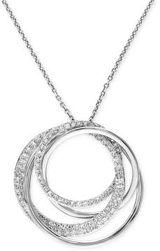 Effy Pave Classica by Diamond Circle Pendant Necklace (3/8 ct. t.w.) in 14k White Gold