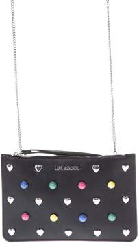 Love Moschino Black Eco Leather Clutch Bag With Multicolored Studs