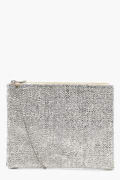 boohoo Metallic Woven Clutch With Chain