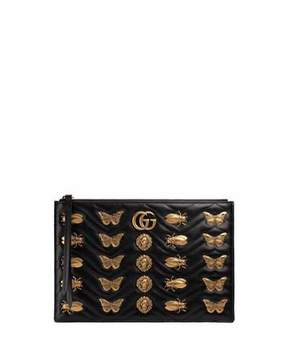Gucci Large Flat Zip Pouch with Insect Embellishments - BLACK - STYLE